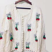 囿爱 草莓装饰森女系田园风棒针开衫