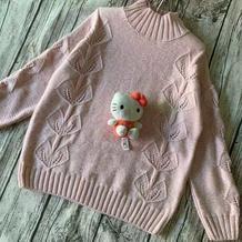 蝴蝶兰 女童棒针叶子花中高领套头毛衣