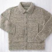 男士棒針系扣口袋翻領開衫毛衣(含M、L兩組數據)