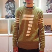 绿茵  男生棒针数字图案配色毛衣