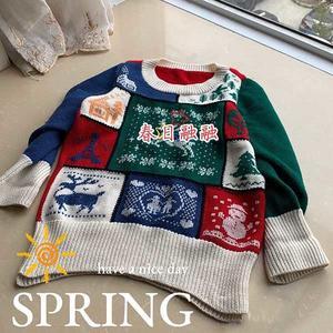春日融融 圣诞风格拼接织片式儿童棒针毛衣