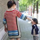 钩针祖母方格拼色毛衣编织视频(2-1)