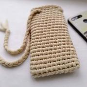 灌芯棉布條線云趣鉤針手機袋