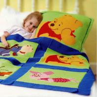 迪士尼小熊维尼主题图案棒针毯子与抱枕