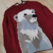 东海女士棒针白熊套头毛衣