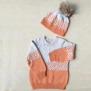 阳光 儿童棒针提花毛衣与帽子