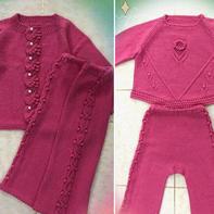 实用好看的宝宝棒针三件套(开衫、套头毛衣和裤子)