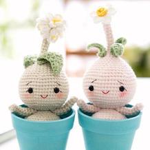 钩针球球盆栽娃娃(2-1)创意毛线玩偶编织视频教程