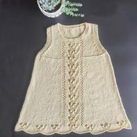 鹅黄 棉毛混纺儿童棒针背心裙
