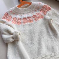 嗯哼 从上往下织宝宝棒针圆肩提花毛衣