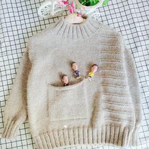 仿乖诺诺的晴空 简约百搭儿童棒针圆领毛衣