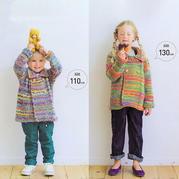彩虹段染儿童棒针双排扣翻领开衫(110、130cm)