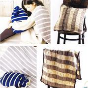 2款简约大方棒针条纹毯子套装(毯子+抱枕、毯子+收纳袋)
