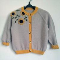 向日葵 仿淘宝款儿童棒针花朵刺绣开衫毛衣
