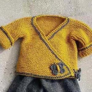 看图仿衣姜黄色婴儿对襟和尚服开衫