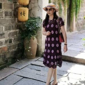 紫菀 弹力麻女士钩针拼花蕾丝连衣裙
