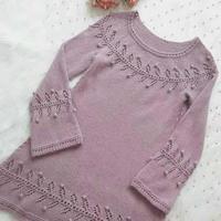 紫霞 真丝羊绒加长A版女士棒针喇叭袖圆肩衣