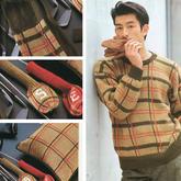 手工编织四件套:巴宝莉风格男士毛衣、围巾、抱枕与高尔夫球杆套