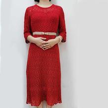 女士棒针大红蕾丝镂空连衣裙