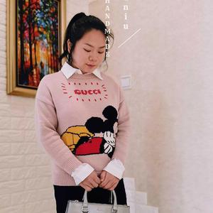 仿一万二的Gucci*Disney联名款女士棒针卡通图案套头毛衣