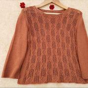 枫 云清女款女士棒针七分袖套头毛衣
