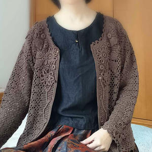 经典爱尔兰花女士钩针圆领蕾丝开衫
