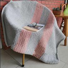 一毯多用云趣棒针拼色盖毯(可做沙发毯、午休毯或宝宝毯)