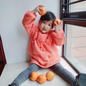 甜橙  从领口往下钩的小朋友可爱钩针长袖连衣裙