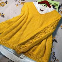 情怀 女士棒针V领自带袖毛衣