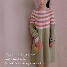 文艺范云棉儿童棒针圆肩长袖连衣裙
