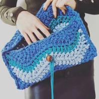粗线粗针创意编织女士钩针布条线手拿包编织视频教程