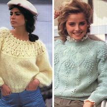 2款女士棒针叶子镂空花育克圆肩毛衣