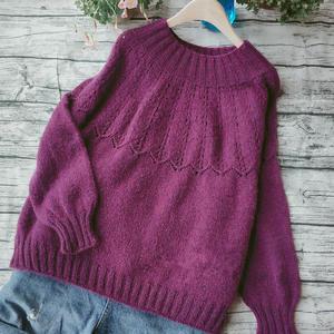 紫云英  从上往下织女士棒针宽松圆肩毛衣