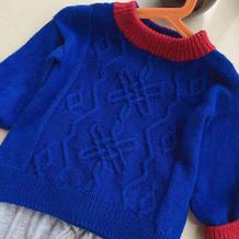 休闲款宝宝棒针扭花撞色领套头毛衣