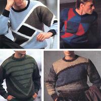 4款简约经典男士棒针几何图案套头毛衣