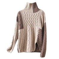 摩卡 看图仿衣休闲大牌女士棒针拼色扭花羊绒毛衣