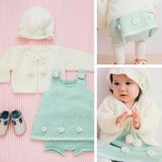 超萌的甜美可爱宝宝棒针毛衣4件套(开衫、背心裙、大PP裤、帽子)