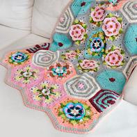 超美的曼陀罗花样钩针拼花毯