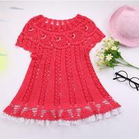小鱼儿连衣裙(2-1)从领口向下钩的儿童钩针连衣裙编织视频