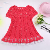 小鱼儿连衣裙(2-2)从领口向下钩的儿童钩针连衣裙编织视频