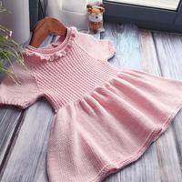 粉春苗 从领口往下编织云棉宝宝裙式毛衣