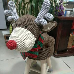 创意毛线编织家居用品 钩针鹿先生毛线玩偶凳