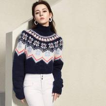 迪丽热巴MISS SIXTY同款毛衣  女士棒针提花圆肩毛衣