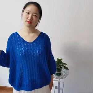 春秋女士棒针镂空花马海毛衣