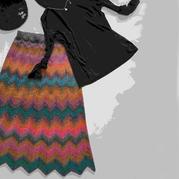 云彩段染线女士棒针水波纹半裙