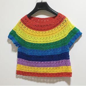 彩虹葱  女士钩针拼色圆肩短袖衫
