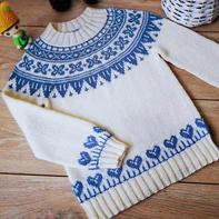 颂瓷  从领口往下织儿童棒针提花毛衣