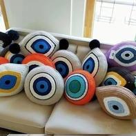 个性创意毛线编织眼睛抱枕地垫编织图解