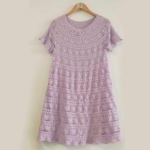 紫贝壳裙 看图仿衣从领口往下女士钩针连衣裙