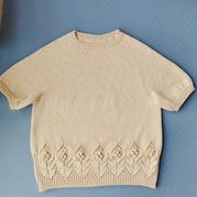 短袖木兰 女士棒针育克圆肩短袖衫(含8个尺码数据)